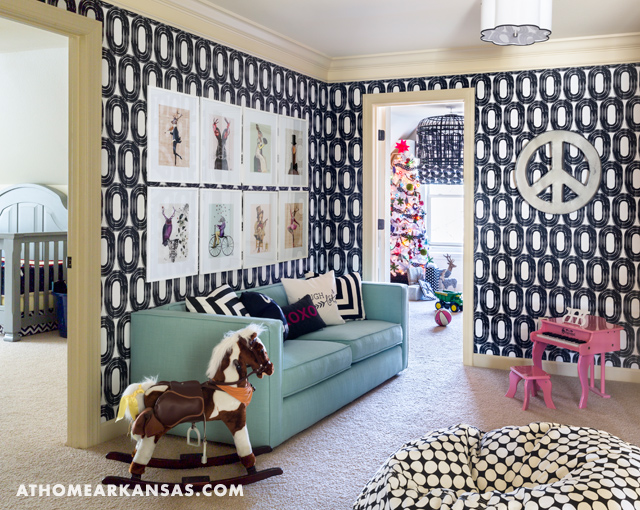 Playroom with Blue Sofa and White and Black Wallpaper