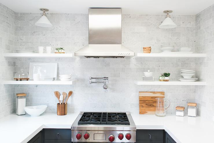 white flat front kitchen cabinets with gray quartz