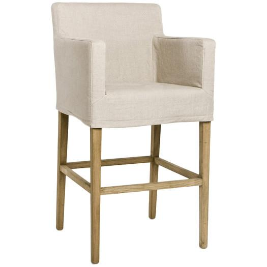 Beige And White Spindle Legs Bar Stool