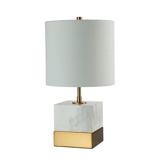 White And Gold Marble Block Base Table Lamp
