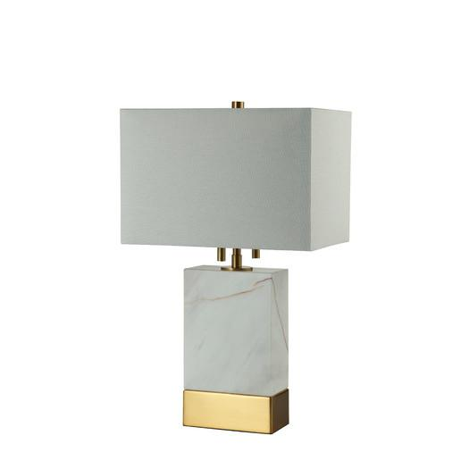 Charming White And Gold Marble Rectangle Base Table Lamp