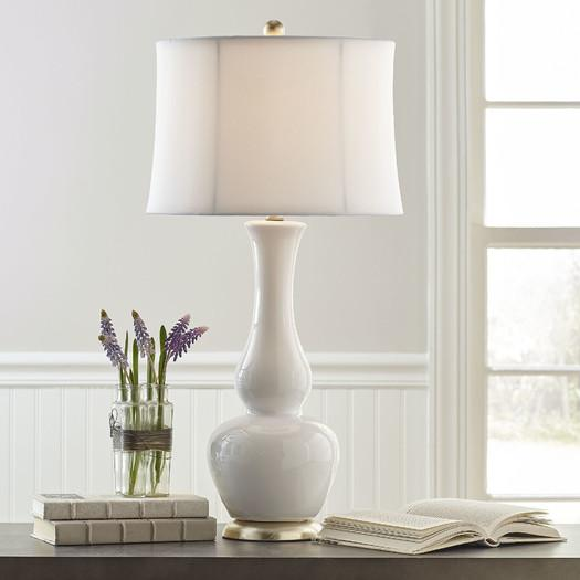 White Ceramic Gourd Body Table Lamp
