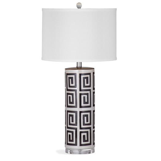 White And Black Cylindrical Greek Key Table Lamp