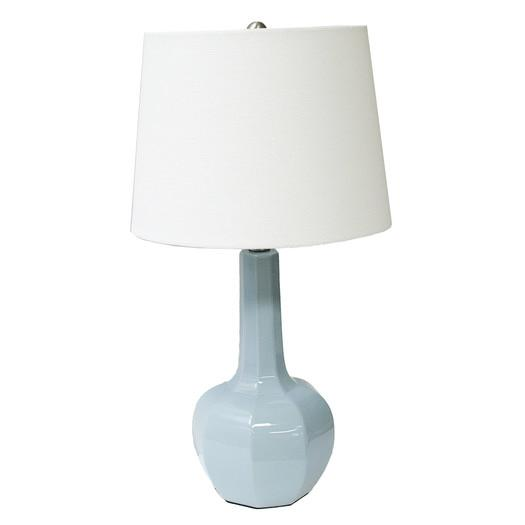 Light Blue Faceted Body White Shade Table Lamp