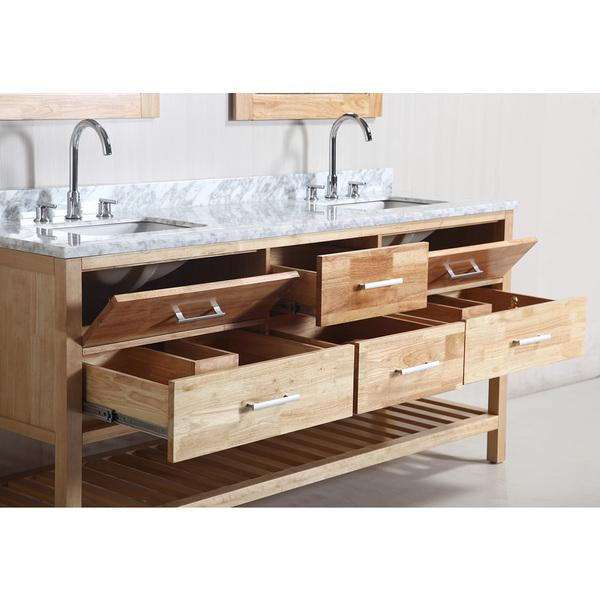 Sink And Vanity Set. Design Element London 72 inch Oak Finish Double Sink Vanity Set with Mirror