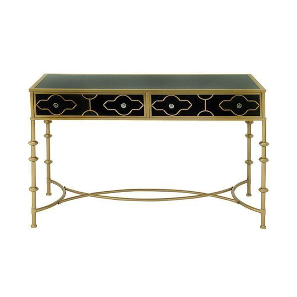 prodigious Black Metal And Glass Console Table Part - 12: DecorPad