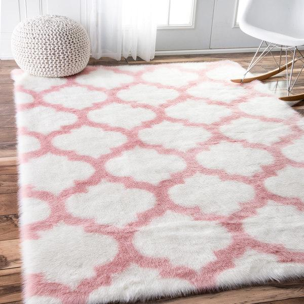 Pink And White Trellis Shag Rug