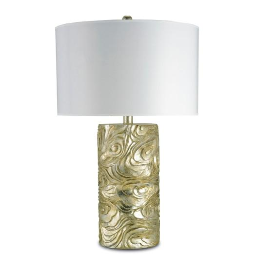 Gold Cylindrical Textured Swirls Body Table Lamp