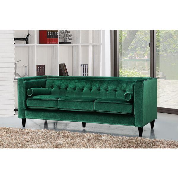Merveilleux Bolster Pillow Button Tufted Green Velvet Sofa
