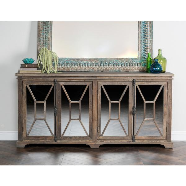 Four Door Adjustable Shelf Mirrored Sideboard