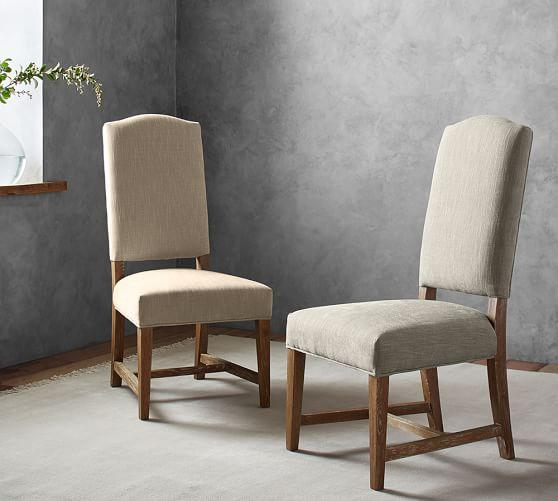 Beige Upholstered Camelback Dining Chair