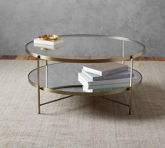 Two Tiered Brass Framed Glass Round Coffee Table