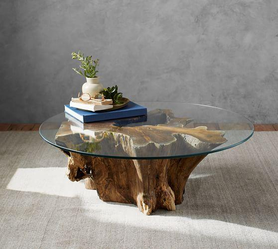 Tremendous Brown Driftwood Base Glass Coffee Table Download Free Architecture Designs Scobabritishbridgeorg