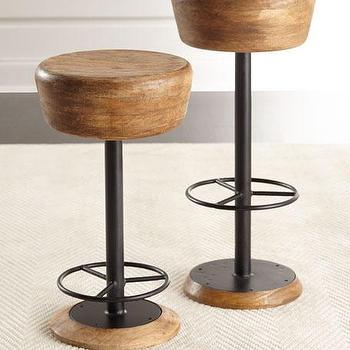 Espen Chestnut Wood Black Metal Adjustable Stool