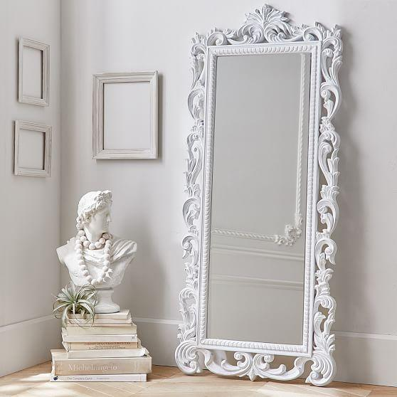 Cornerstone floor mirror in white for Floor mirror white frame