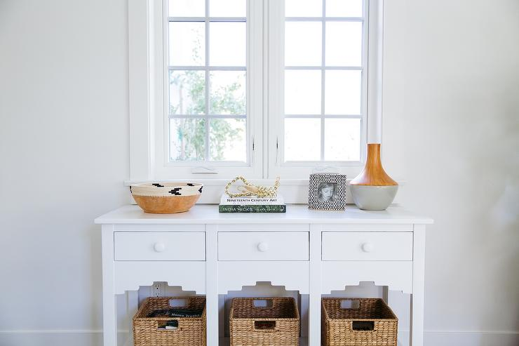 White Console Table with Wicker Baskets Transitional Denlibrary