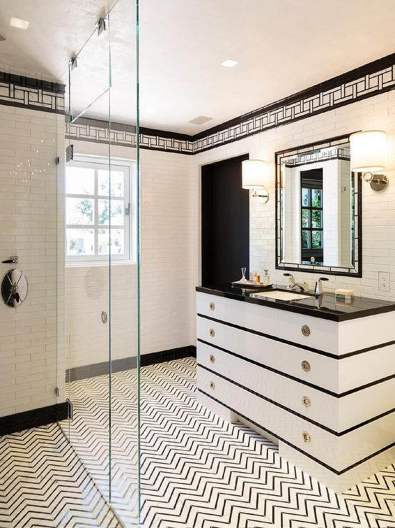 Black And White Bathroom With Black And White Chevron Tile