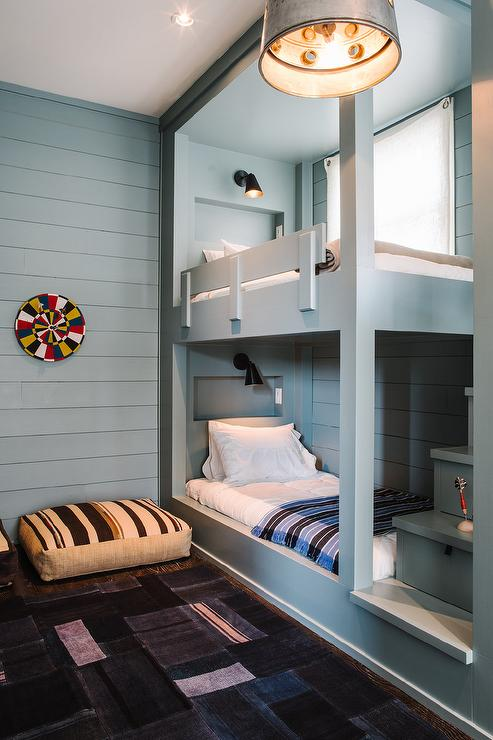 Gray Built In Bunk Beds With Gray Shiplap Trim Transitional Boy S Room