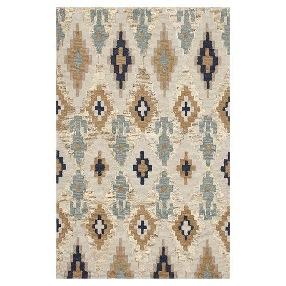 and beige ikat rug