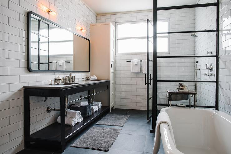 Industrial Bathroom With Black Dual Washstand And Black