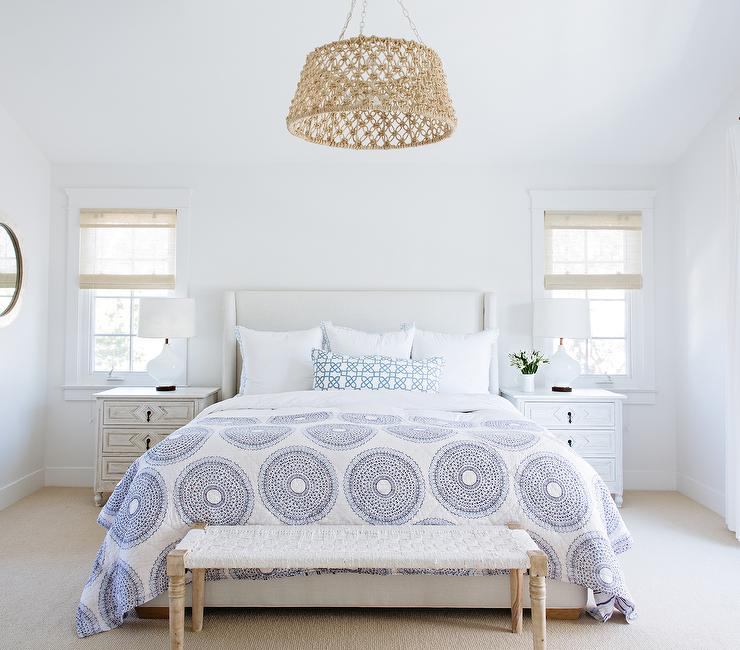 White Bedroom with Rope Drum Pendant Over