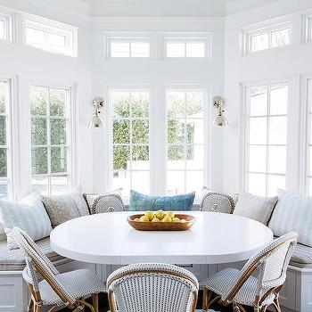 Breakfast Nook With Clear Beaded Chandelier Transitional