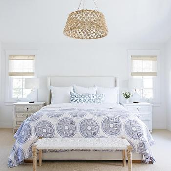 White Bedroom with Rope Drum Pendant Over Bed & Jute Rope Drum Light Pendant Design Ideas