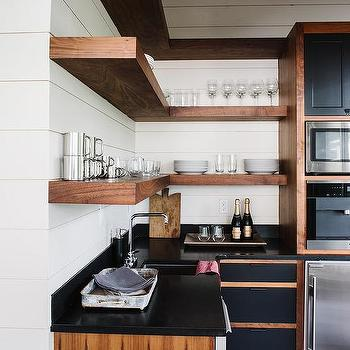 l shaped kitchen pantry with l shaped floating wood shelves