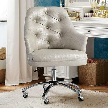 silver button tufted desk chair - Tufted Desk Chair