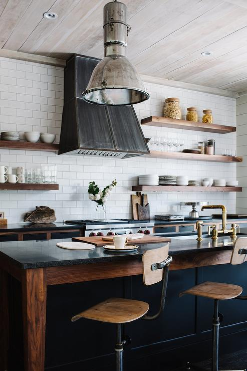 Industrial kitchen with two tone cabinets transitional for Black industrial kitchen