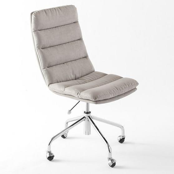 gray tufted velvet desk chair