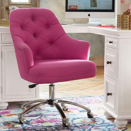 Pink Velvet Tufted Desk Chair
