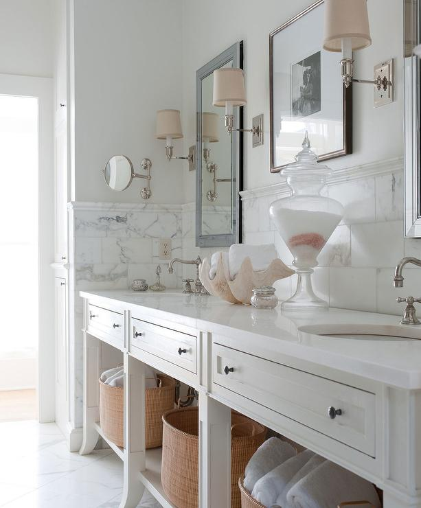 Pink And White Bathroom: Blue Gray Dual Washstand With Oval Sinks And Satin Nickel