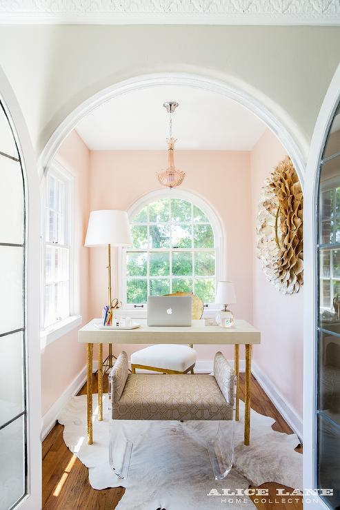 Pink Home Office With Arched French Doors Contemporary