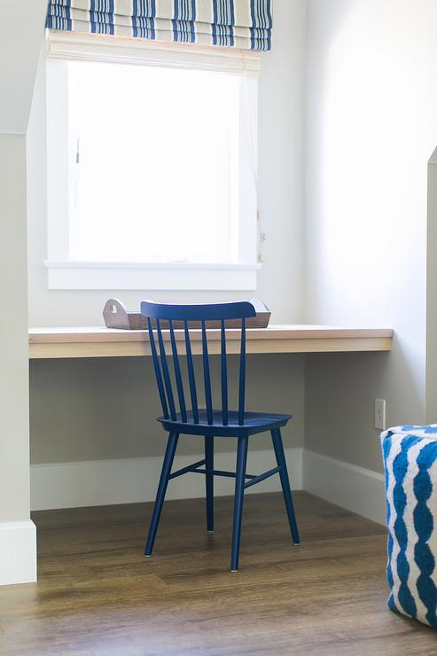 Attic Playroom Nook Desk With Blue Windsor Chair