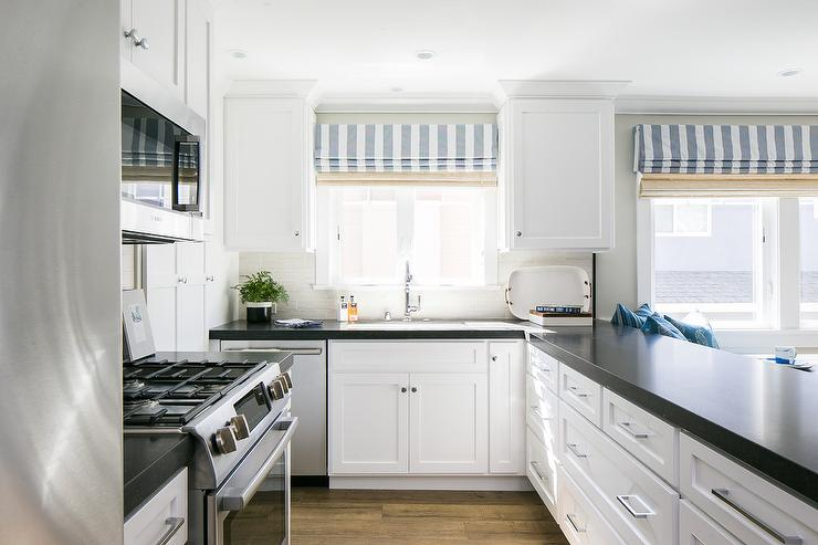 Black And White Kitchen With Light Gray Tiles Cottage