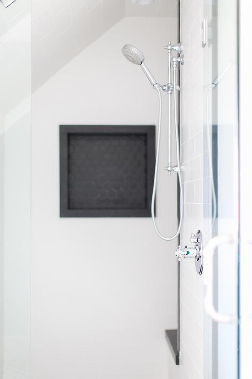 Black Hex Tile Shower Niche Contemporary Bathroom