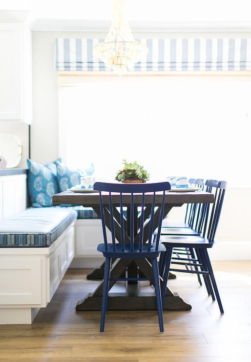Blue Breakfast Nook With L Shaped Dining Banquette Cottage Kitchen