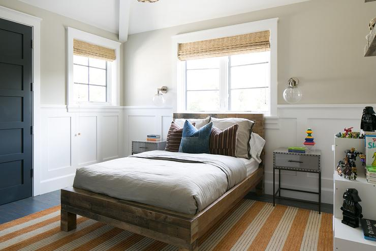 Boy Room with Reclaimed Wood Bed and Board and Batten. Boy Room with Reclaimed Wood Bed and Board and Batten