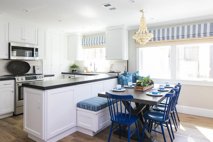 Blue Breakfast Nook With L Shaped Dining Banquette