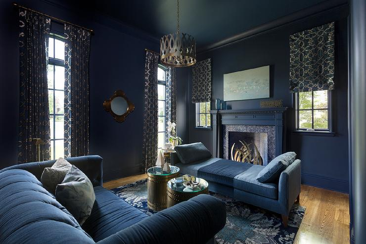 Dark blue living room with blue linen chaise lounge Blue wallpaper for living room