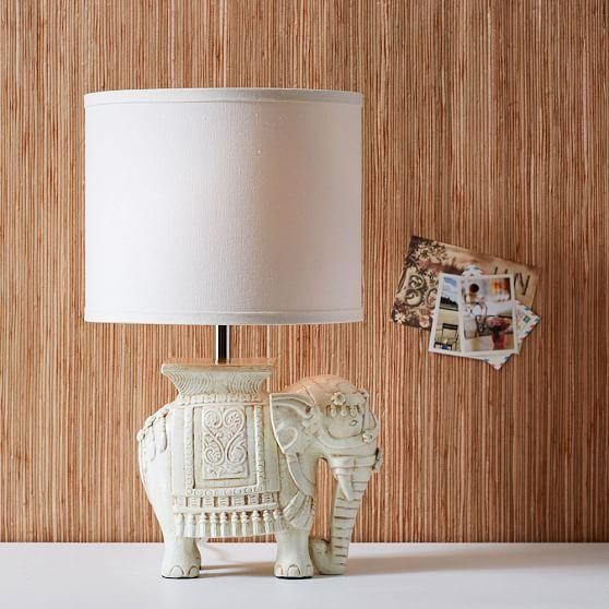 White Antique Elephant Table Lamp