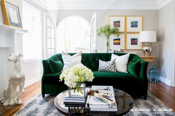 Emerald green velvet sofa with black coffee table for Living room with green sofa