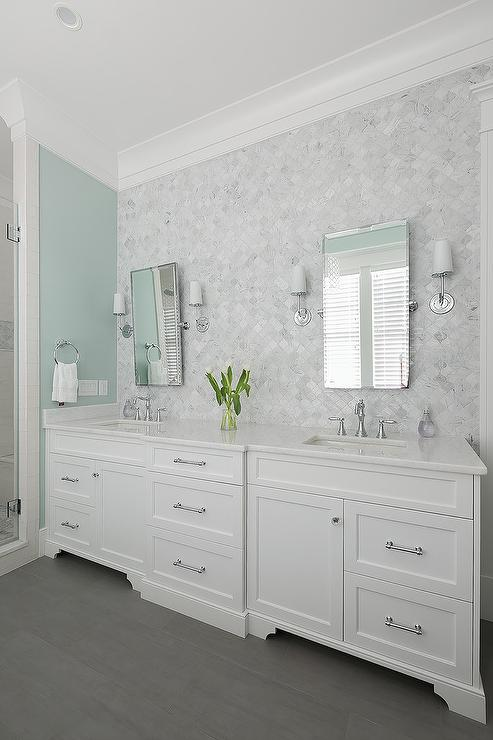 White And Blue Bathroom With Gray Marble Arabesque Wall Tiles