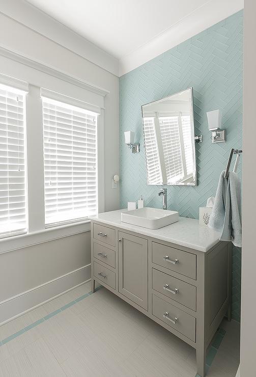 Gray Lacquer Mirror Contemporary Bathroom Buchman Photo