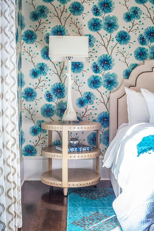 beige and blue girl bedroom with white faux bois lamp contemporary