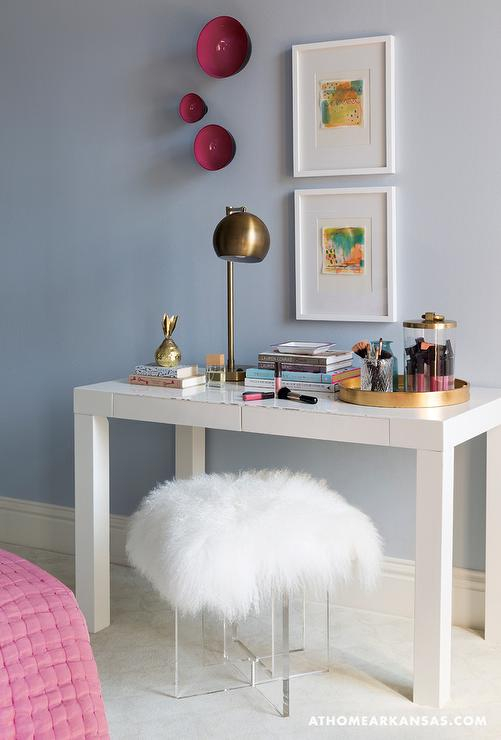 Girl Room With Desk And Lucite Stool Across From Bed