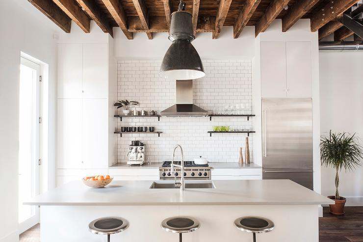 White Kitchen With Rustic Cross Beam Ceiling