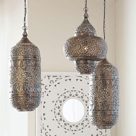 Silver Ornate Lantern Style Pendant