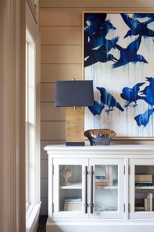 Blue Foyer Cabinet : White casement cabinet with indigo blue art transitional